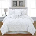 awesome looking white comforter sets king with round night table featuring cool table lamp and wooden floor