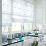 awesome semi transparent blind for kitchen in white color in white kitchen with black top and dining set