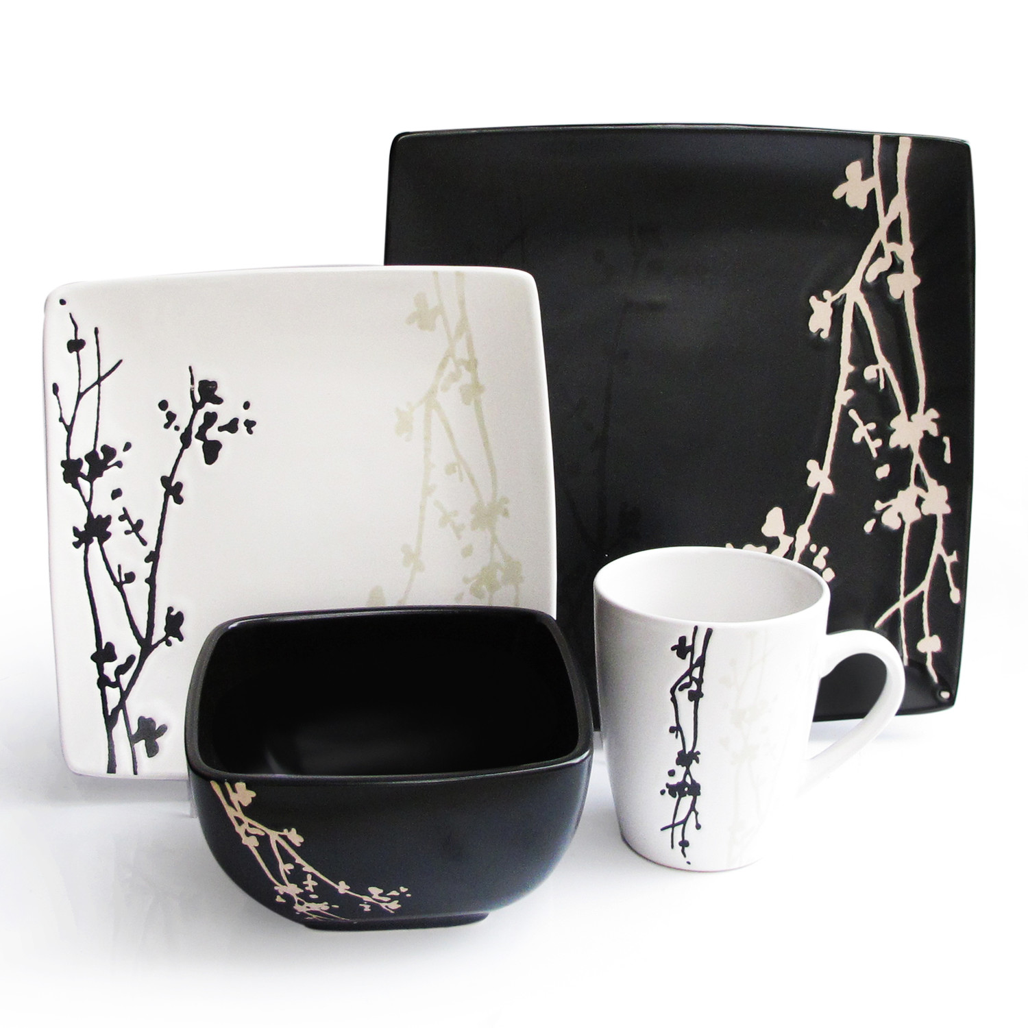 beautiful black and white dinnerware idea with japanese style of floral pattern  sc 1 st  HomesFeed & How to Color the Dining Table with Black and White Urban Ware ...