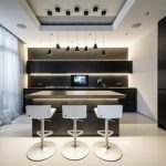 best apartment kitchen design with modern appliance and black siding and glass window and white stools