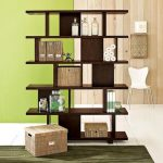 best brown wooden cool bookshelves idea with strorage bins and assymetrical slots