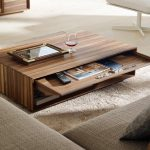 best cool wooden coffee table idea in rectangle shape with storage on furry rug