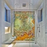 best fashion bathroom trend with unique abstract painting with floating white rack and recessed wall cabineta nd glass door