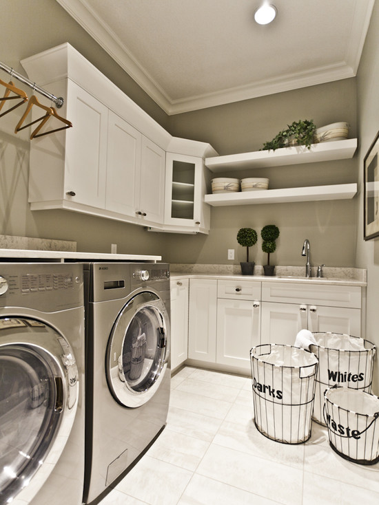 best laundry room shelf idea with wall racks and metal framed hamper and  double washing machine