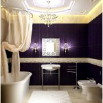 Best Luxurious Bathroom Design With Creamy Curtain On The Shower With Large White Bathtub And Purple Siding With Wall Lamps