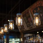 best old fashioned light bulb idea with can shape with wire suspension in bar with rustic theme