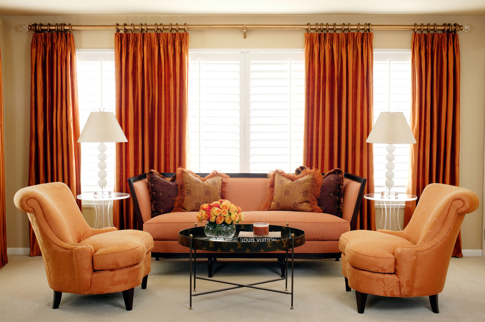 Best Orange Extra Long Curtain Rods With Golden Rods Featuring Orange  Comfortable Sofa And Armchairs Plus