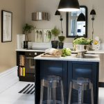 Best Scandinavian Kitchen Design With Black Island And Acrylic Stools And Black Vaulted Pendants