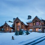 best snowy wooden house design with wooden exterior and glass window and lighting and open plan