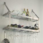 best stainless steel floating wine glasses and bottles shelves idea on white wall