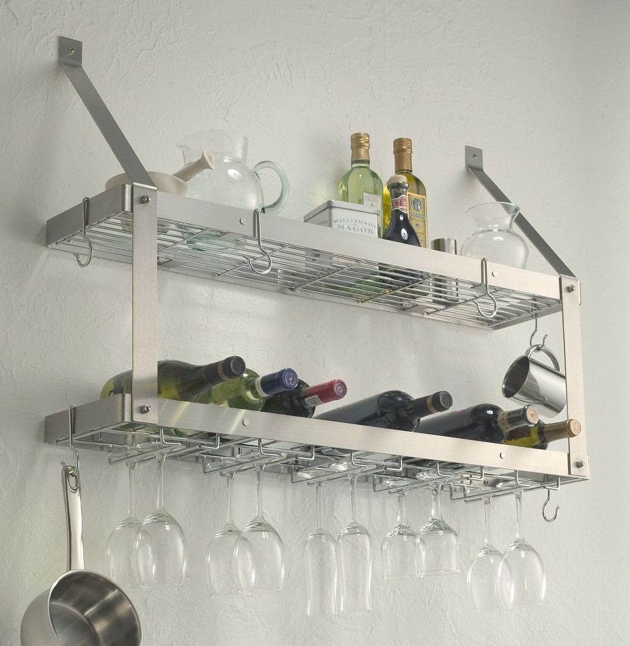 best stainless steel floating wine glasses and bottles shelves idea on white wall