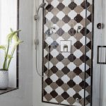 beveled arabesque tile for walk in shower ideas together with modern shower head
