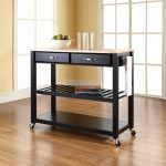 black kitchen cart with wheels design with drawers and tan top