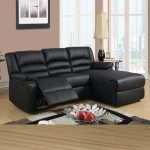 black leather sectional recliner with single chaise