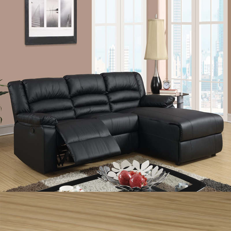 Black leather reclining sectional products homesfeed for Black leather chaise lounge sofa