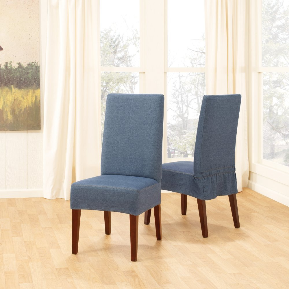 Blue Fabric Slipcovers For Dining Room Chairs Made Of Wooden Featuring White Drapes On Glass Windows