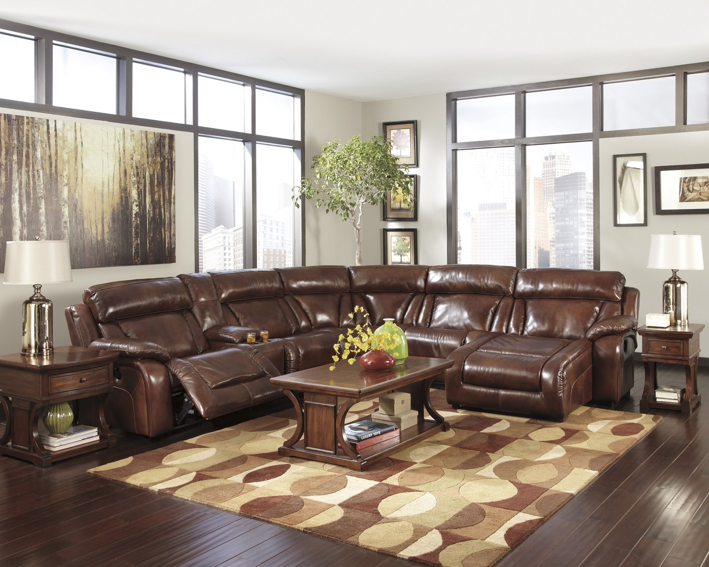 Brown Leather Sectional Sofa Clearance In Comfortable Design With Chaise In  One Side Together With Patterned