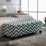 charming bed ottoman bench in zigzag motif plus storage together with white comfortable rug and beding set on divan bed
