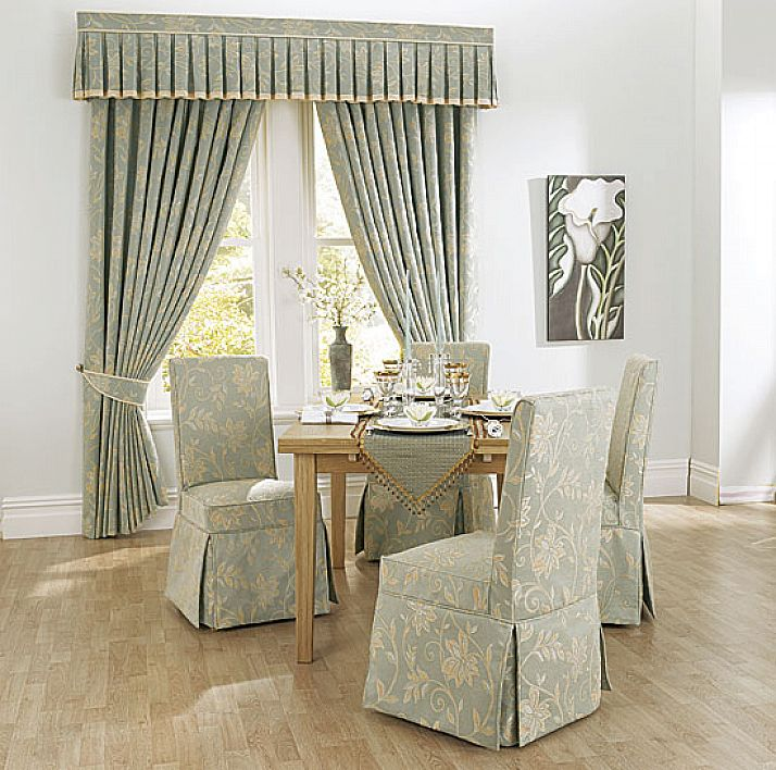 Charming Slipcovers For Dining Room Chairs With Patterned Fabrics Combined  With Impressive Window Treatmet In The