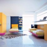 cheerful bedroom interior design with murphy bed kit lowes design and yellow closet and zebra area rug and glass window