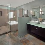 classy shower ideas for master bathroom with walk in shower together with bathtub inside plus tiling floor and wall mounted vanity units and mirror on wall