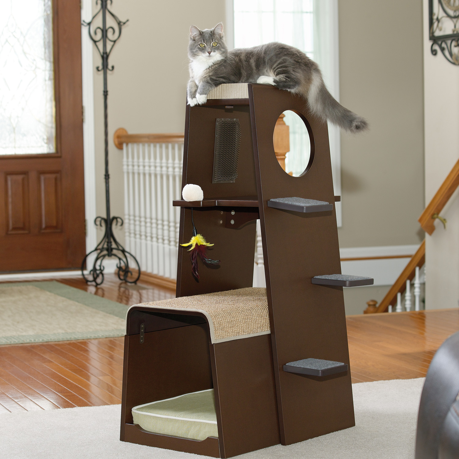 spoil your lovely cats with contemporary cat furniture  homesfeed - contemporary cat furniture in dark finish equiped with stairs completedwith cat