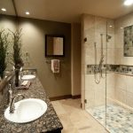 contemporary shower ideas for master bathroom with beautiful walk in shower plus luxurious vanity units with marble countertop and mirror mounted on wall