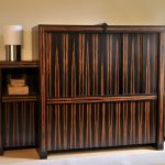 cool and unique entertainment center with door and shelves in the left and right sides