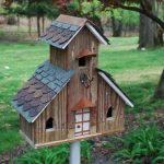 creative-and-decorative-Bird-House-Handmade-From-Wood-with-the-three unit-church-style-of-bird-house-from-re-claimed-materials