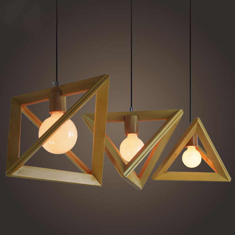 Exceptional Creative Geometrical Shaped Wooden Light Fixture Design Idea In Triangle  Shade
