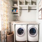 decorative laundry room shelf ideas with wooden racks and metal hanging rod together with stunning rug and curtains plus wonderful laundry baskets