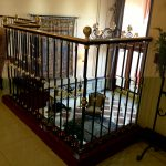 decorative wrought iron stair railings interior with golden accent for giving luxurious impression