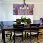 dining room seat cushions in natural design together with dark finishing and attractive patterned rug plus purple art and beautiful drapes on windows