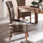 Dining Room Seat Cushions On Rattan Dining Chairs Plus Square Wooden Table And Hardwood Floor Plus Greeneries On Table