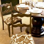 Dining Room Seat Cushions With Attractive Pattern Arranged With Wooden Tables With Modern Fireplace And Beige Rug
