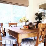 Dining Room Seat Cushions With Ruffle For Inviting Dining Room Ideas Together With Square Wooden Table And Black Fan