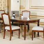 Dining Room Seat Cushions With Striped Motif Plus Awesome Wooden Dining Table In Traditional Design Combined With Ivory Area Rug