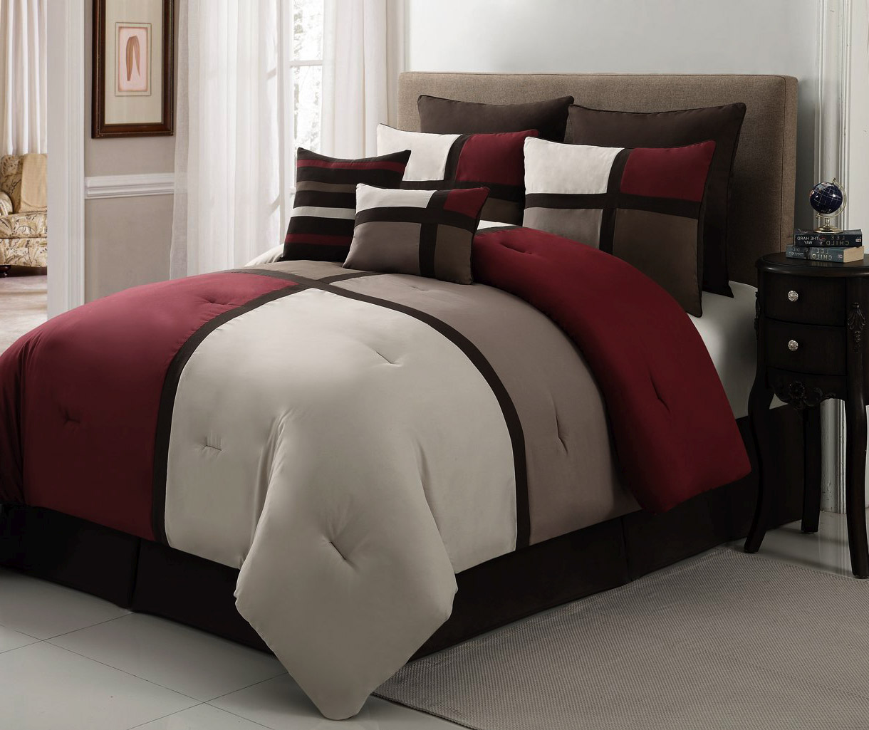 duke burgandy brown red and white california king bed comforter sets consisting of seven pieces and