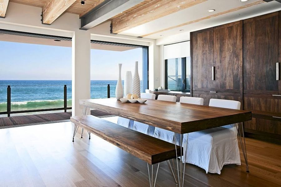 Elegant And Spacious Beach Dining Room Design With Wooden Table Bench Slipcovered Chairs