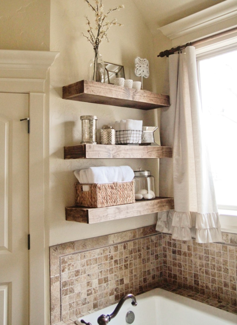 elegant bathroom design with bold wooden shelves design and small