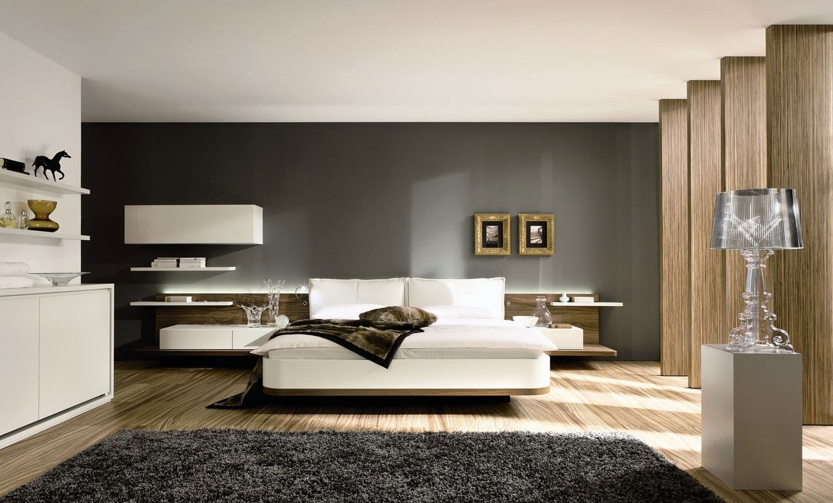 Elegant Bedroom Design With Gray Siding And Wooden Pole Black Furry Rug Floor