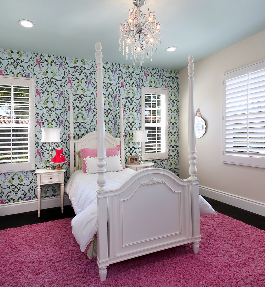 Bedroom with wallpaper accent wall that you must have for Pink and grey bedroom wallpaper