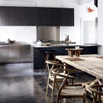 elegant black modern kitchen design with black wooden cbainet and flooring and rustic wooden floor and wooden scandinavian bar stools