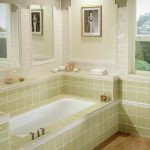 Elegant Green Tile Tub For Small Bathroom Design With Glass Window And Wooden Floor