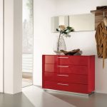 Elegant Red Small Console Table For Hallway Design With Drawesr And Indoor Plant And Open Plan Room