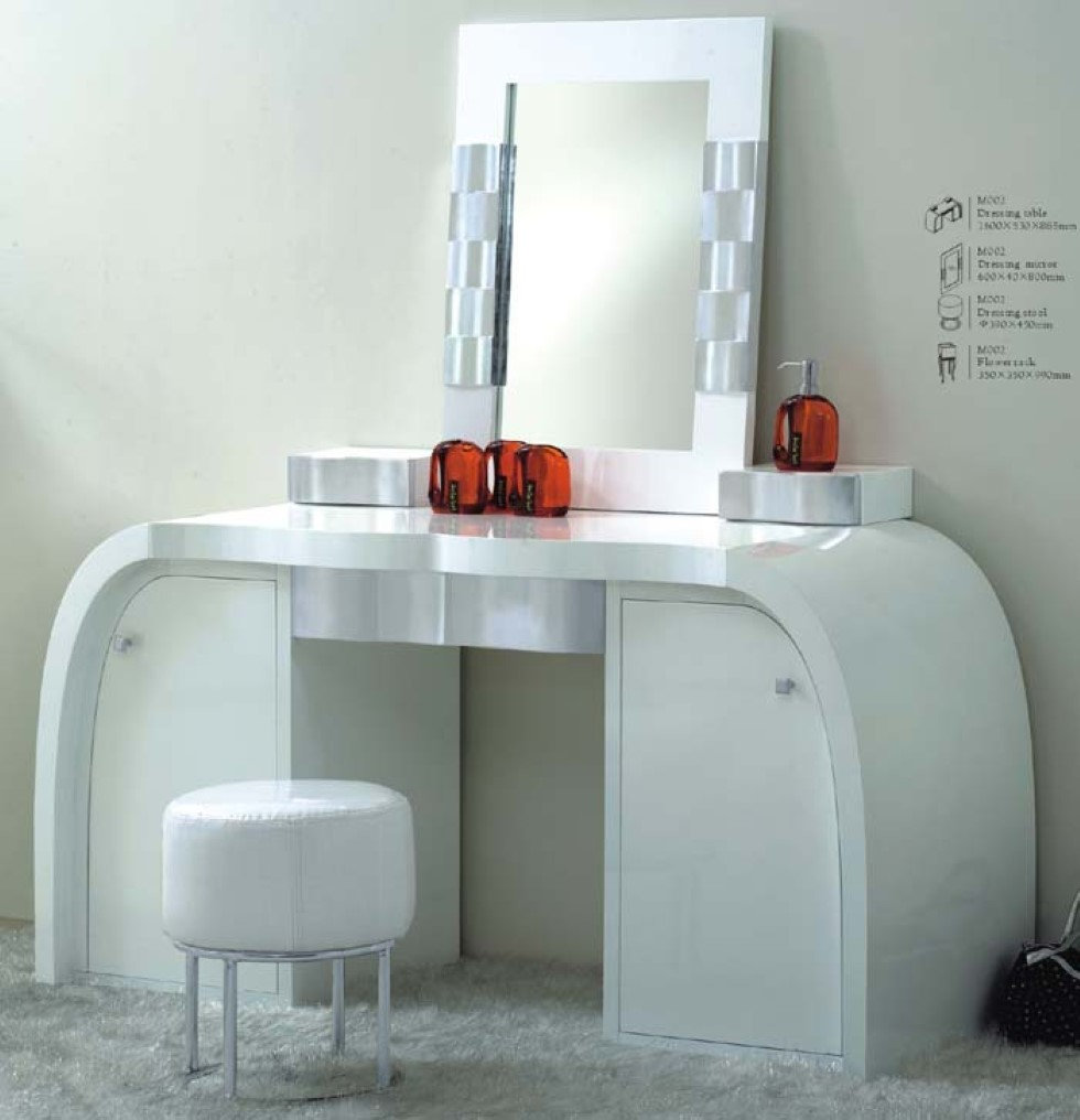 Modern dressing table with mirror - Elegant White Modern Dressing Table Idea With Wall Mirror And Red Ornament And Round Pouffy Bench