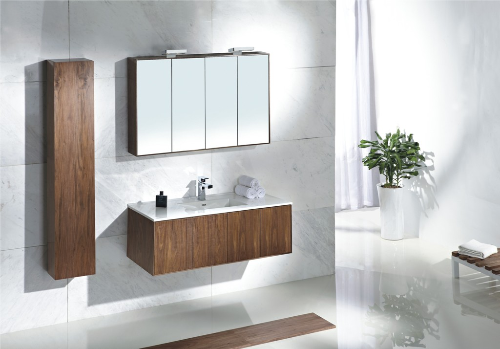 Elegant Wooden Image Of Bathroom Vanity Idea With Tower And Four Foldable  Wall Mirror And Indoor