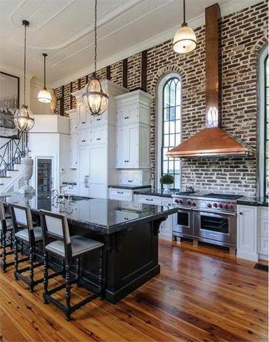 kitchen loft design. european kitchen loft design idea with brick wall accent and wooden floor  black island Loft Style Kitchen Design Perfect New Feeling Nuance HomesFeed