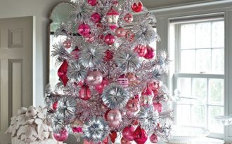 exciting-silver-and-white-tabletop-christmas-tree-decorations-combined-with-pink-and-red-ornaments-and-reindeer-miniature-under-the-tree-placed-near-window