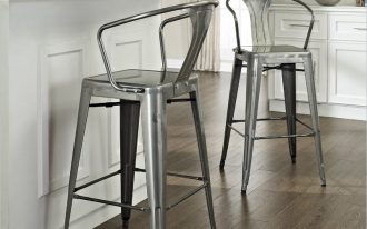 extra comfortable vintage metal bar stools for awesome kitchen ideas with back and arm together with laminate flooring and wooden island